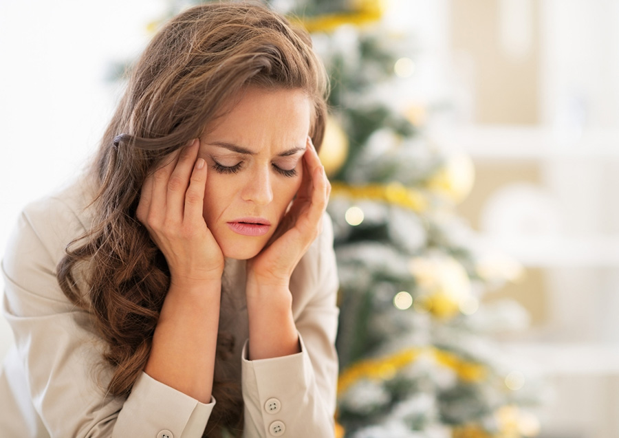 young lady experiencing holiday stress